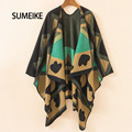 [SUMEIKE] 2016 New Brand Women's Winter Poncho Vintage Blanket Women's Lady Knit Warm Shawl Cape Cashmere Blanket Poncho