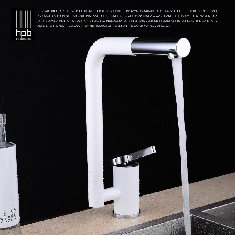 HPB Fashion Deck Mounted Kitchen Faucet Sink Mixer Tap Cold Hot Brass Water taps White Swivel Spout Free Shipping HP4007 golden brass kitchen faucet dual handles vessel sink mixer tap swivel spout w pure water tap