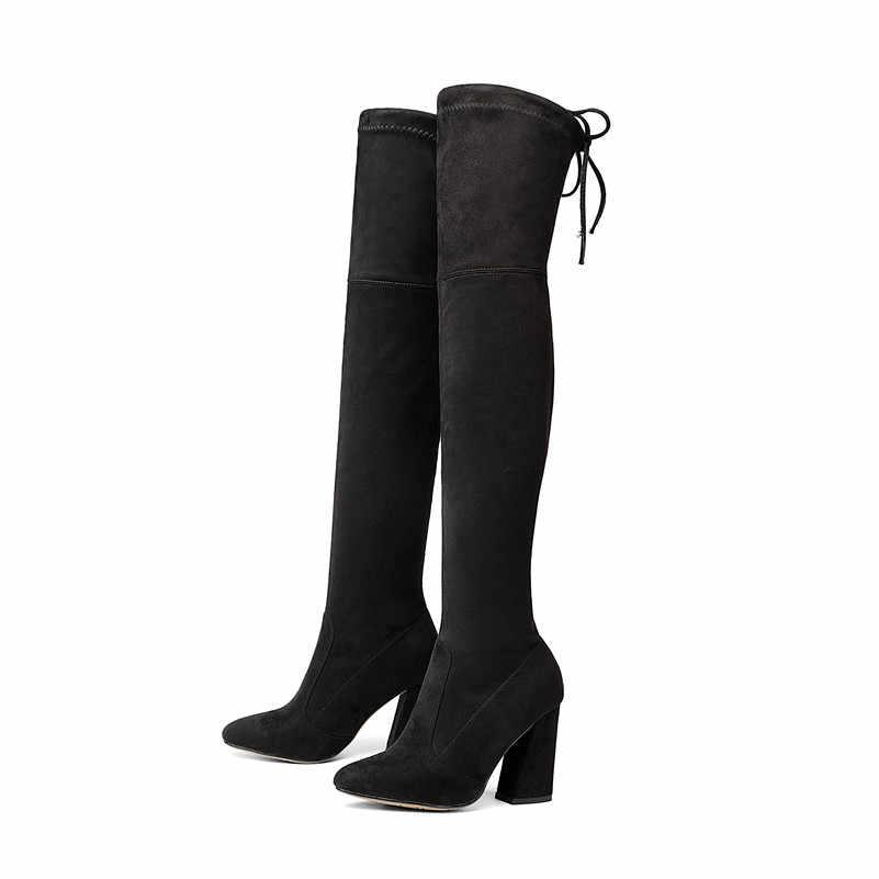FEDONAS YENI 9.5 cm Sucrb Deri Kadın Diz Üzerinde Çizmeler Dantel Kadar Seksi Toynak Topuklu Kadın Ayakkabı Katı Sonbahar kış sıcak Botlar