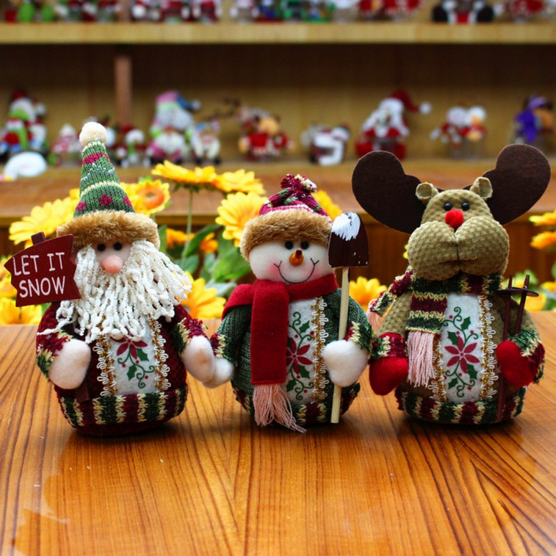 2017 Christmas Santa Claus Doll Home Decorations Elk Snow Man For Kids Toys Christmas Gi ...