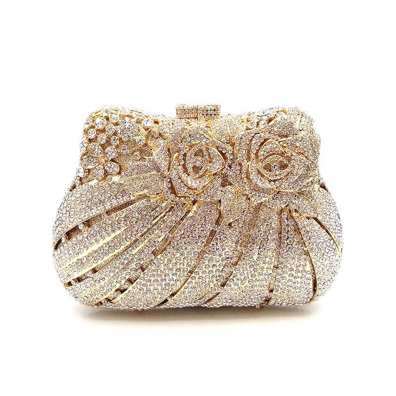 Femmes soirée sac de soirée diamants de luxe cristal embrayage de mariée de mariage sac à main sac à main portefeuille sac rose fleur cristal sacs à main-in Sacs de soirée from Baggages et sacs    2