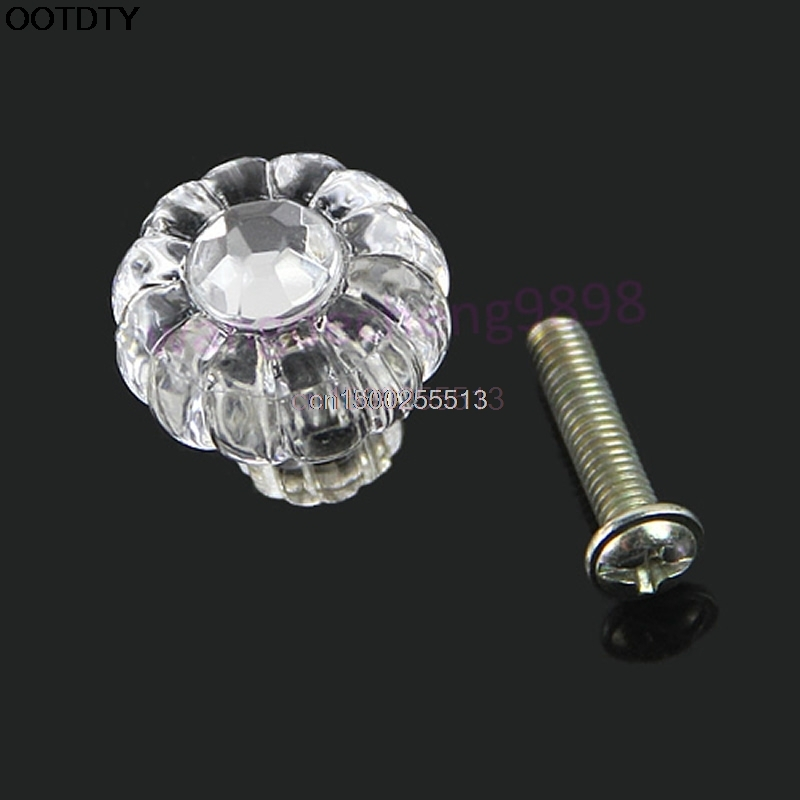 купить 10pcs/lot Clear Acrylic Door Pull Knob Drawer Cabinet Cupboard Handle 20mm Hardware онлайн