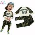 Crianças meninos esporte define vestuário infantil recém-nascidos do exército militar calças t-shirt do bebê meninos de roupas ternos primavera crianças fatos de treino