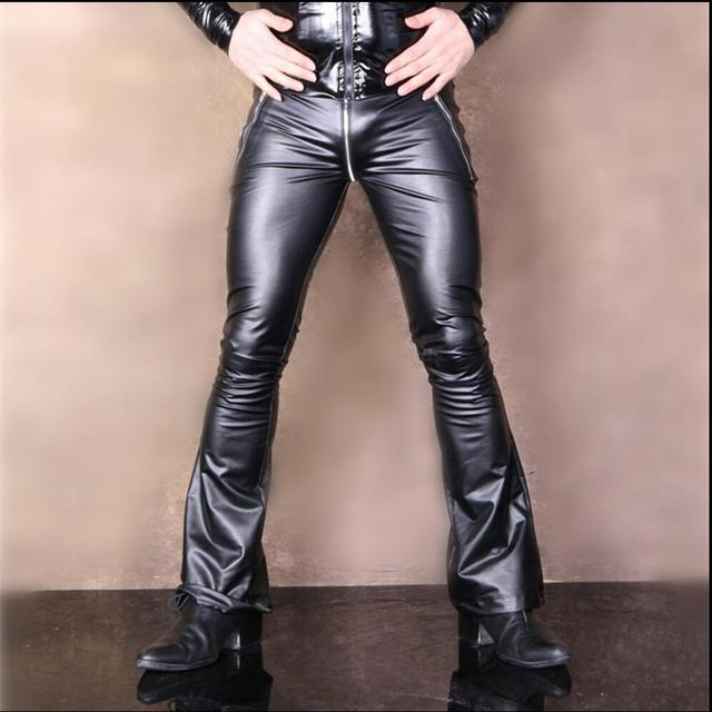 d530f8ef0f3dd4 New Fashion men's stretch PU leather pants U crotch zipper tight motorcycle  pants hairstylist flare pants singer costumes