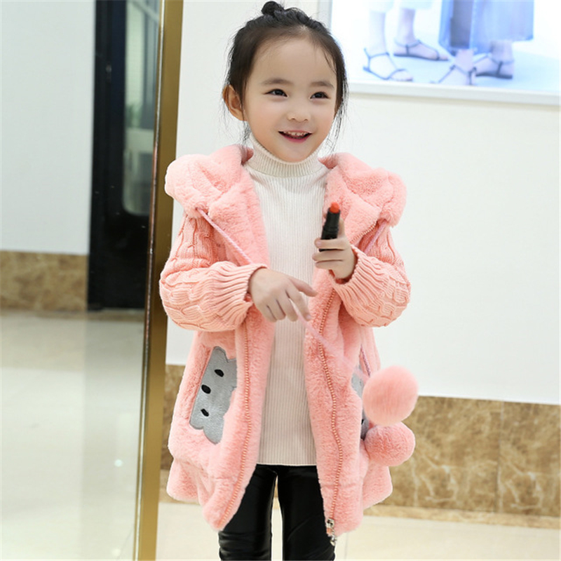 Kids Winter Cartoon Sweet Jacket Coat Girls Outwear Warm Plush Zipped Coat Children Soft Fleece Fur Comfort Coat AA60443 цена 2017