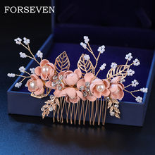 Pink/Blue Flower Bridal Hair Comb and Hairpins Pearl Wedding Hair Accessories Flower Head Piece For Women Ladies Hair Jewelry(China)