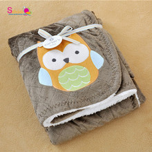Topsale Adorable Newborn Cozy Blanket New Thicken Double Layer Fleece Infant Swaddle Bebe Owl Stroller Wrap