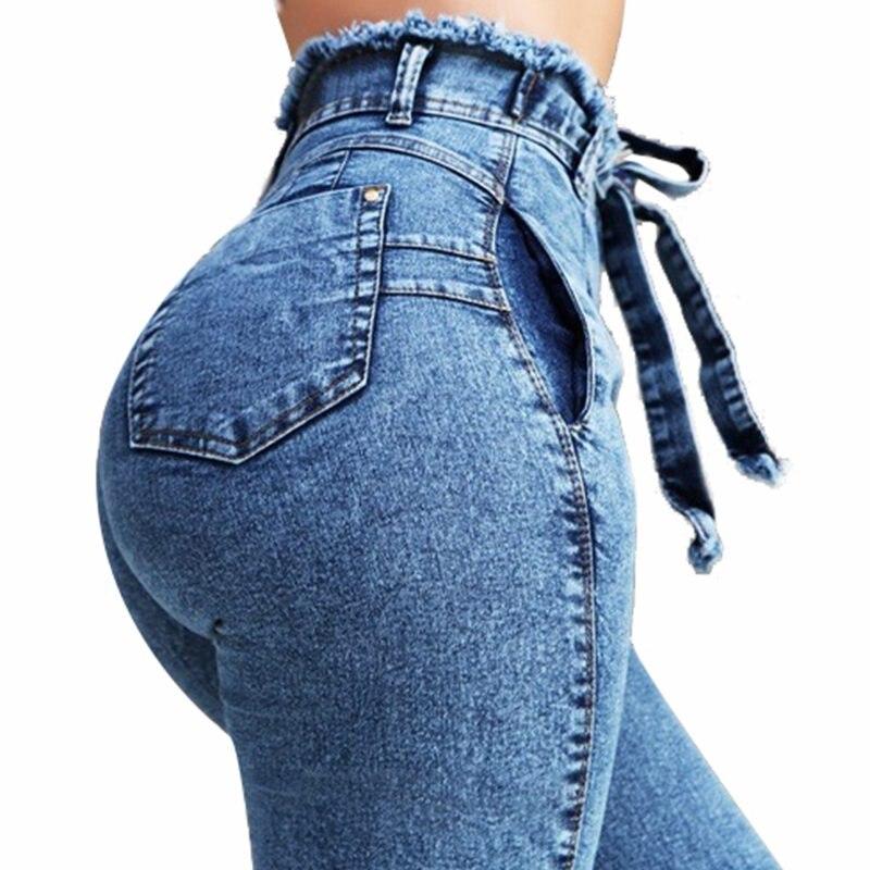 NORMOV Jeans Mujer Cintura Alta Push Up Streetwear Denim Mom Jeans Mujer Cintura Alta talla grande lápiz elástico alto pantalones