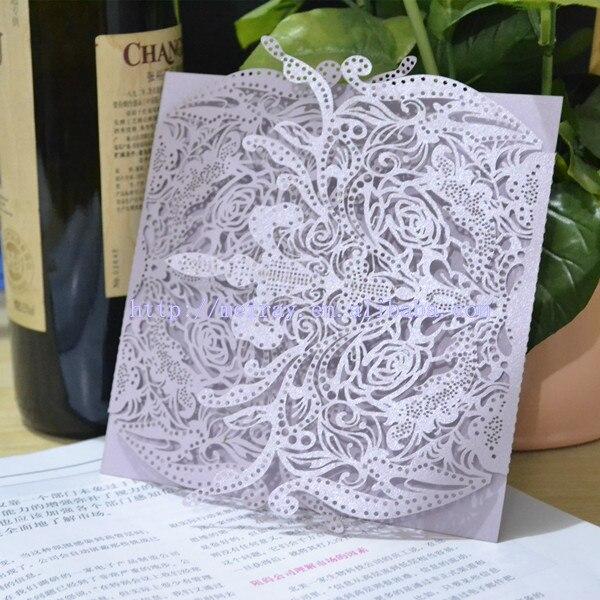 Custom Laser Cut Wedding Card Chinese Custom Royal Wrap Pocket