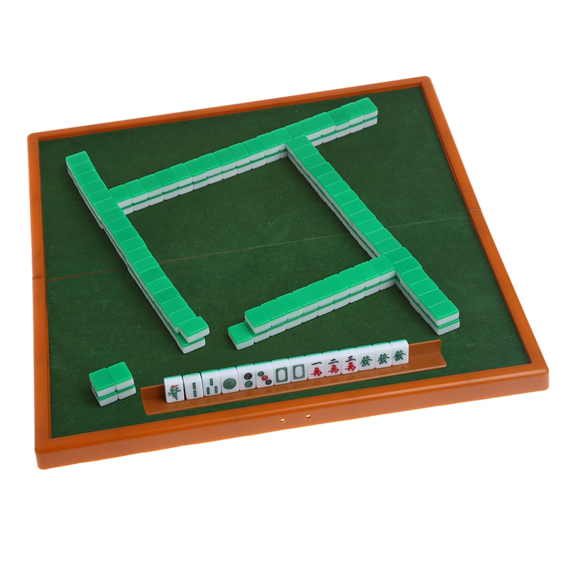 New Portable Chinese Mini Mahjong Set with Foldable Table Funny Family Board Game Indoor Table Game for Travelling Entertainment in Board Games from Sports Entertainment