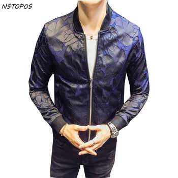 Designer Jacket Patterns Blue Black 2017 New Autumn Club Patty Baroque Bomber Jackets Men Jacquard Club Outfit Men Slim Fit 4XL