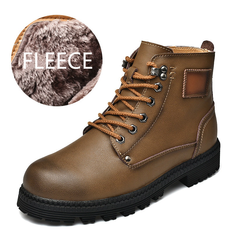 Doc martens boots winter men shoes Cowhide men snow boots with fleece warm  Martin work Boots Motorcycle shoes lace up waterproof 72607d01a446