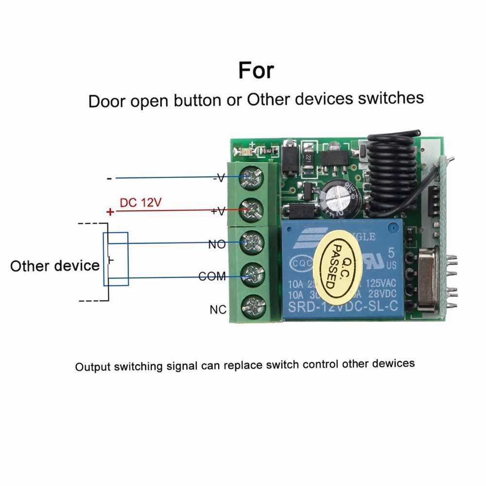 Kebidu 433 Mhz commutateur de télécommande sans fil universel DC 12V 1CH Module récepteur de relais émetteur RF 433 Mhz télécommandes