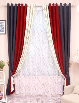 Red Curtains For Living Room Decor Gray Sofa Cl Lss 040 High Grade Solid Chenille Stitching Bedroom Blue White