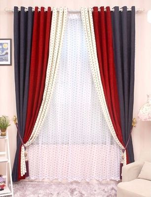 CL LSS 040 High Grade Solid Chenille Stitching Bedroom, Living Room Curtains