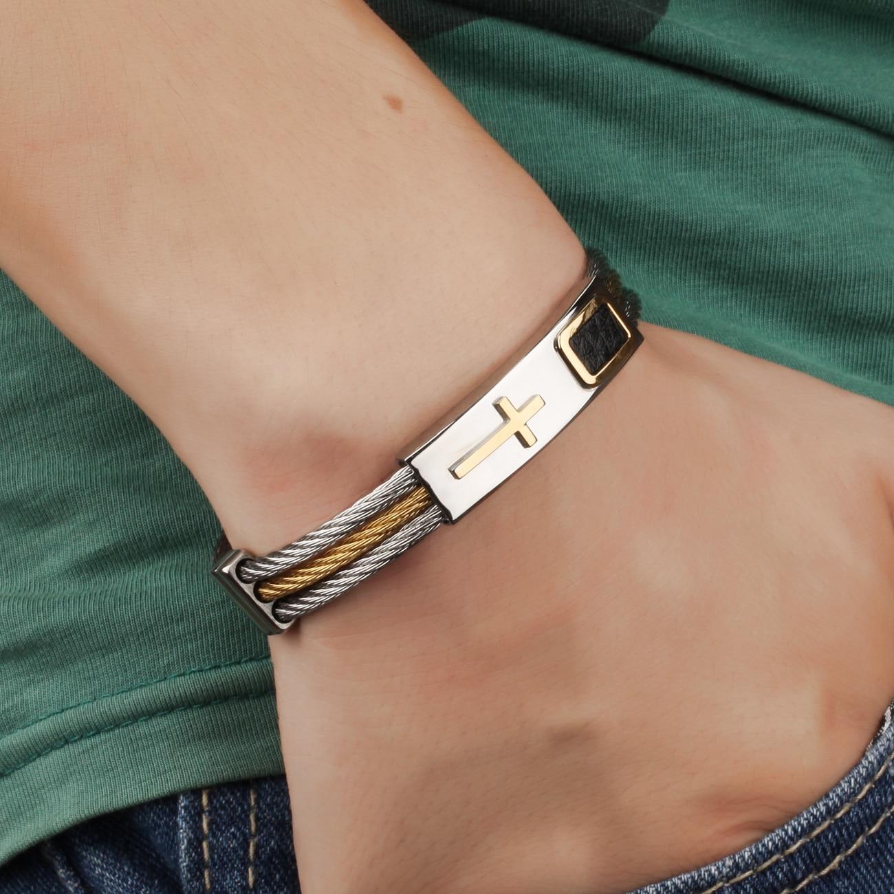 Lasperal Stainless Steel Male Bracelet 3rows Wire Chain Bracelets Bangles Punk Rock Style Cross