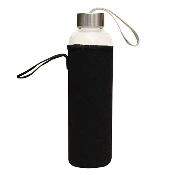 Verre Sport Bouteille D'eau avec Filtre À Thé Infuseur De Protection Sac 550 ml Noir