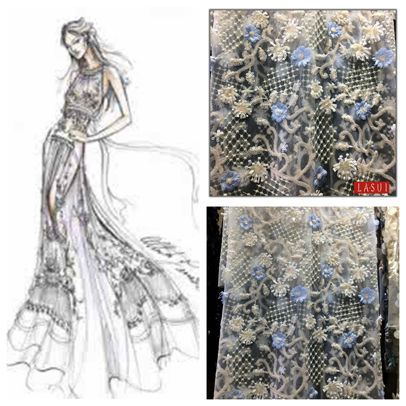 LASUI 2017 New product Full size Heavy sequins 3D flowers embroidery lace Exquisite craftsmanship prom dresses