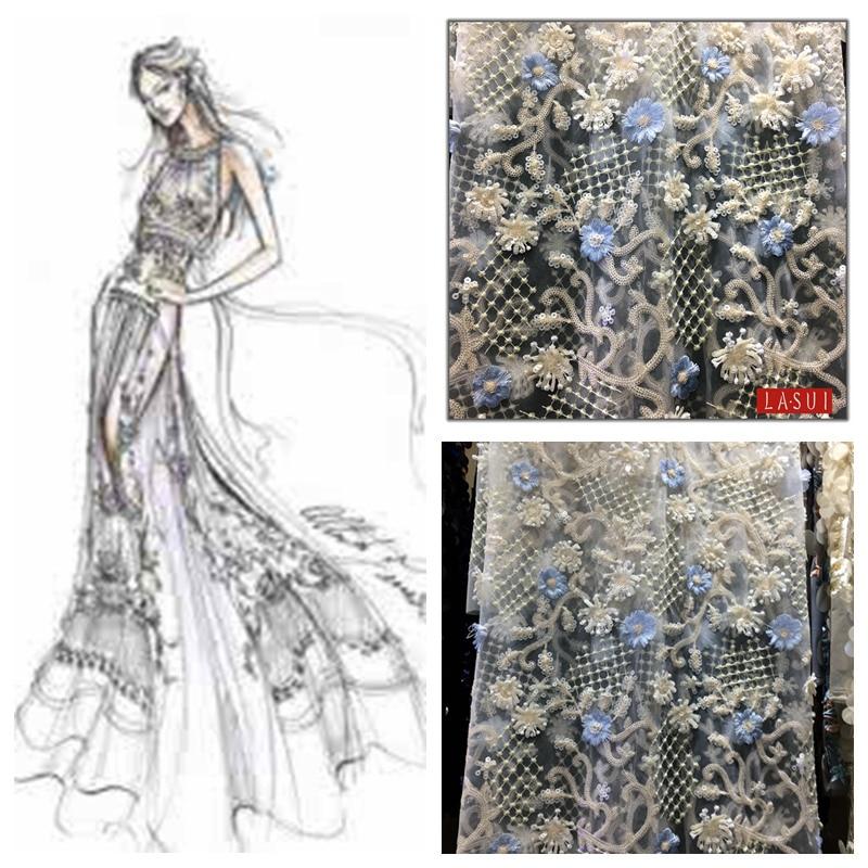 Ev ve Bahçe'ten Kumaş'de LASUI 2017 Yeni ürün Tam boy Ağır sequins 3D çiçekler nakış dantel Zarif işçilik balo kıyafetleri DIY X0184'da  Grup 1