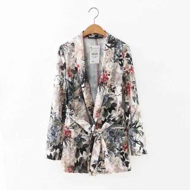 Women's Pantsuit Casual Floral Printed Blazer 2 Piece Set Suit Long Sleeve Kimono Loose Blazer + Pants Two Piece Suits