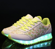 Plus Size 25-61 Women Floral Platform Shoes Luminous USB Charging Colorful LED Lights Luminous Casual Wedges Shoes 5c55(China)