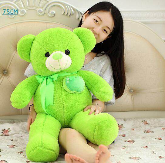 large 75cm fruit apple green teddy bear plush toy doll soft throw pillow Christmas gift w0347 stuffed fillings toy huge 160cm hot pink apple fruit teddy bear plush toy bear doll soft throw pillow christmas gift b0797