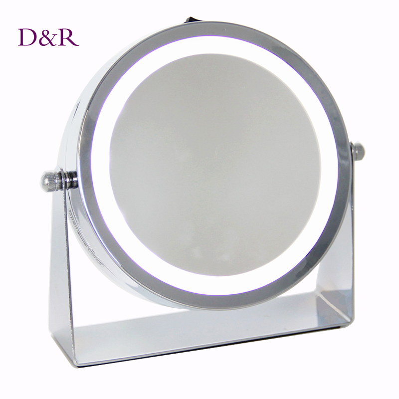 ФОТО Table LED Lighted Makeup Mirror Double Two Sides Face Round LED Light 1X and 3X Magnifier Magnifing 6.25 inch