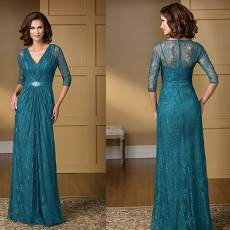 Turquoise Lace Mother Of The Bride Groom Dresses 2016 See Though Long Formal Gown Madre Del Vestidos V Neck Zipper Back In