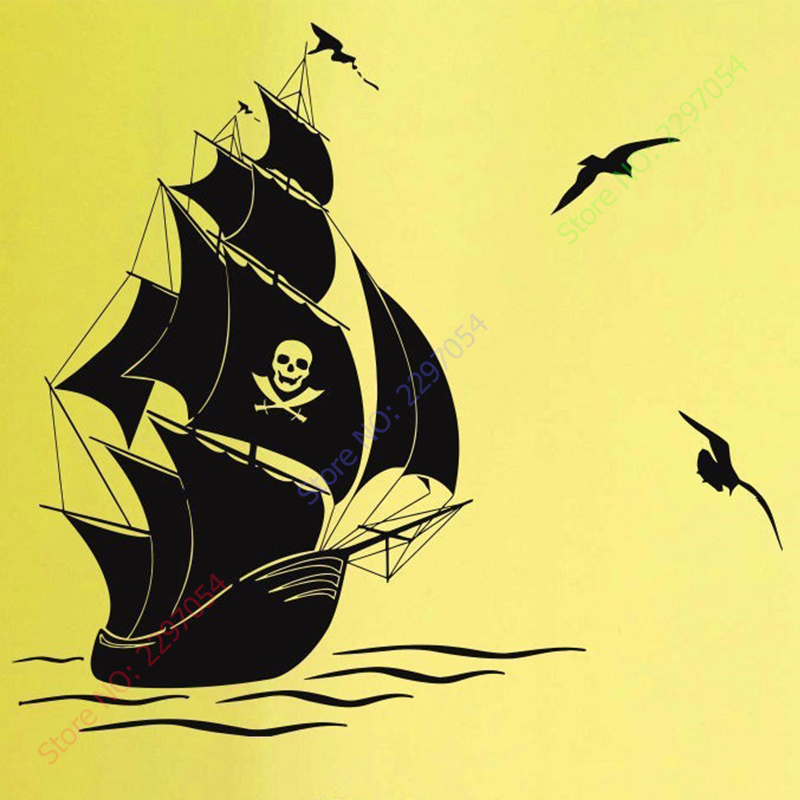New WALL DECAL VINYL STICKERS PIRATE SHIP AT SEA HOME DECOR-in Wall ...