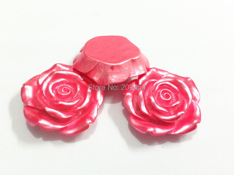 Newest !! 42MM 50pcs/lot Pink Plated Resin Flower Beads For Fashion Kids Jewerly Making ! Free Shipment !!
