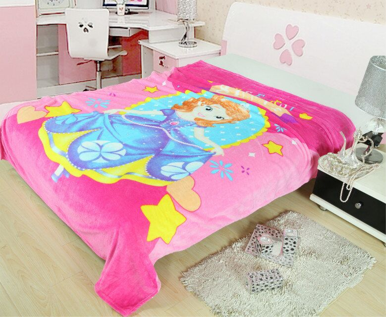 Pink Sweet Sofia Girls Printed Blankets Throw Bedding 150*200CM Size Baby Kids Childrens Bed Home Bedroom Decoration Flannel