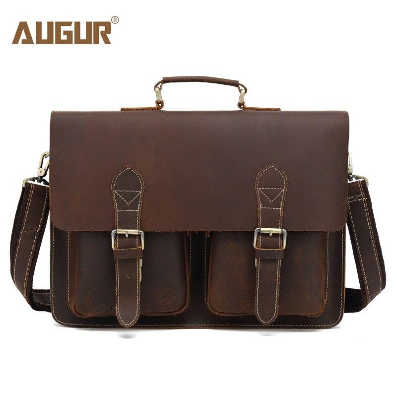 AUGUR 2019 nouveau sac à bandoulière en cuir véritable pour hommes avec poignée supérieure sac à main Vintage pour hommes