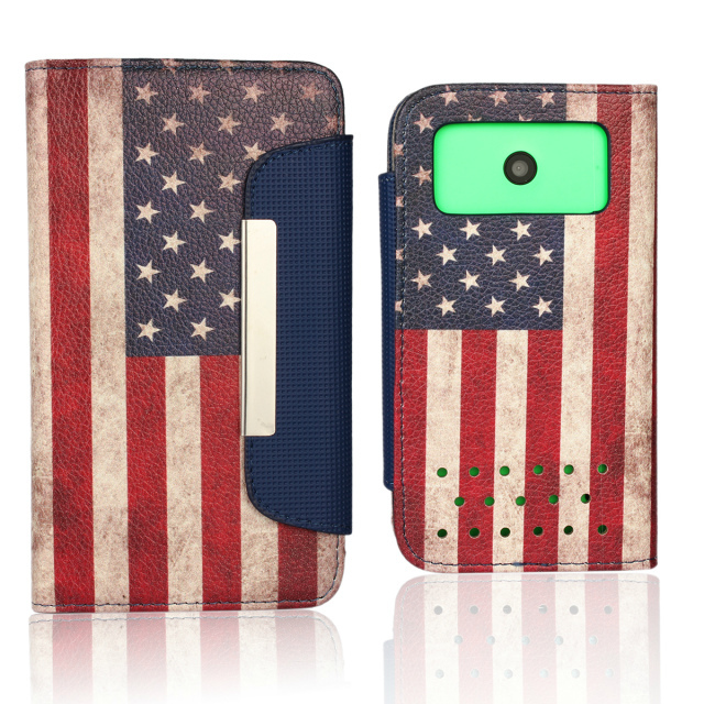 American Flag Pattern Leather Flip Case For Nokia Lumia