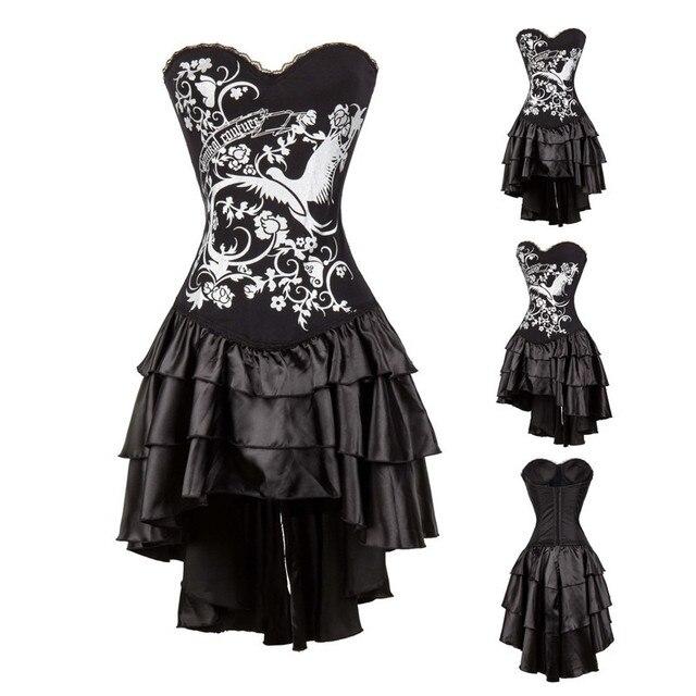 vocole frauen sexy gothic vintage steampunk kostum burlesque silber print korsett top und schwarzen faltenrock outfit