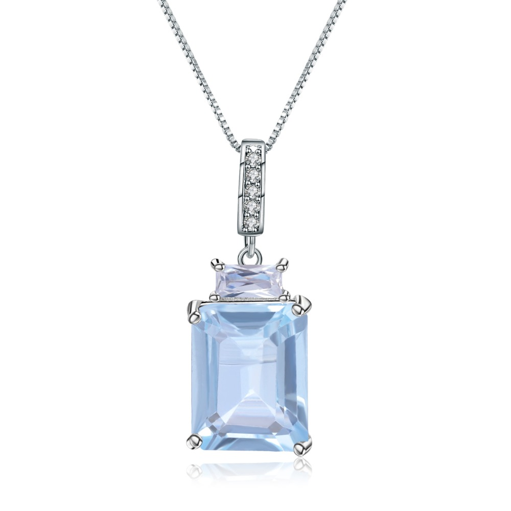 Gem's Ballet Natural Rectangle Sky Blue Topaz Gemstone 925 Sterling Silver Classic Pendants & Necklace For Women Fine Jewelry
