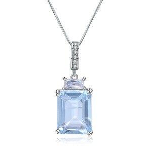 Image 1 - Gems Ballet Natural rectángulo Topacio azul cielo piedra preciosa Plata de Ley 925 colgantes clásicos y Collar para mujeres joyería fina