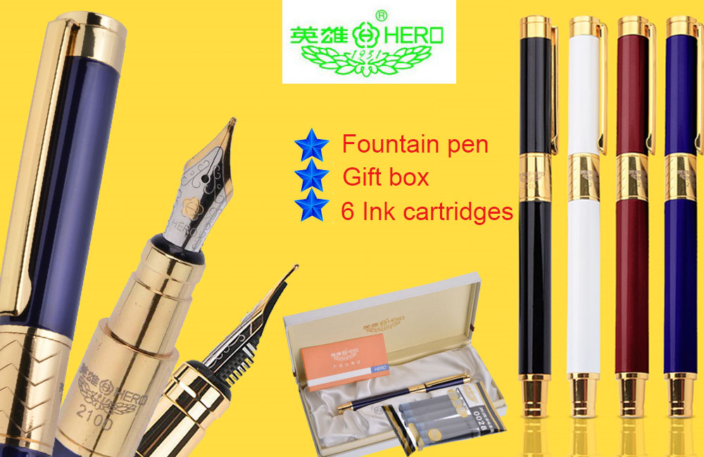 Set of Fountain pen + 6 Ink cartridges + Gift box  HERO 2100   Ink pens the best gift and collection Free  Shipping 9901 fine financia pen student pen art fountain pen 0 38 0 5 0 8mm optional gift box set