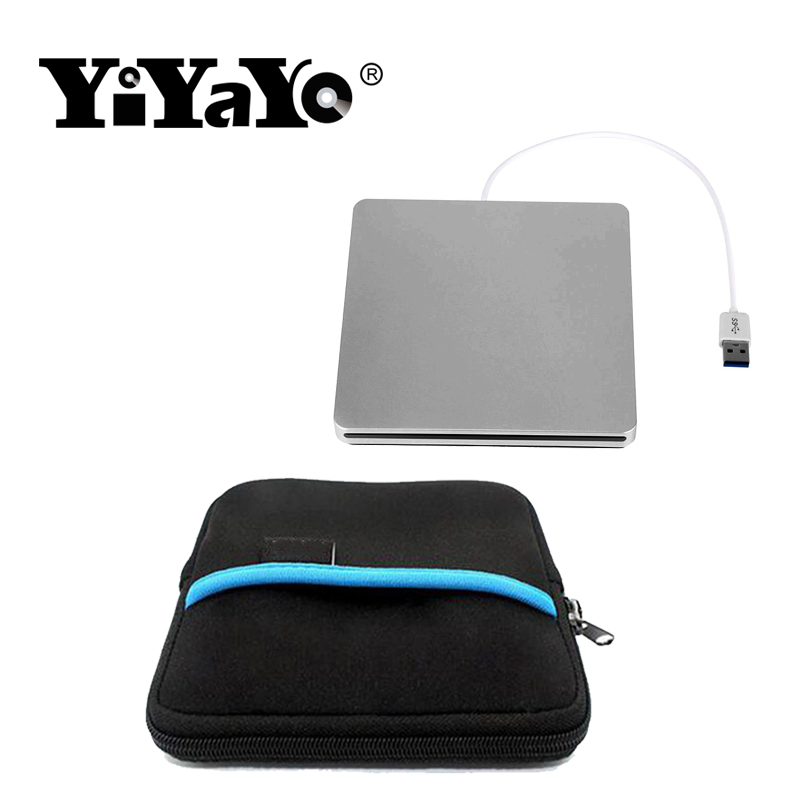 YiYaYo External Blu-ray Optical Drive CD/DVD/BD-RE Burner Player Recorder Portable for Apple Macbook iMac Lapto+Driver bag usb 3 0 bluray external optical drive 3d player bd re burner recorder dvd rw dvd ram for computer drive sleeve case pouch bag