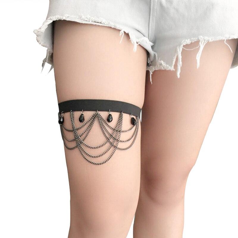 Women Leg Garter Black Goth Handmade Accessories Punk Sexy Cosplay Wedding Belt Gothic