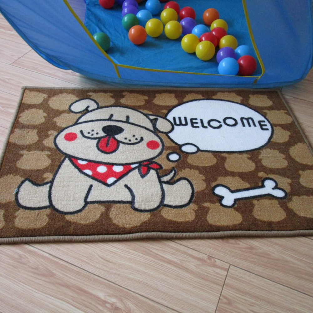 Multi Size Pet Rug Cute Dog Pattern Rug Bathroom Non Slip Carpet Cleaning Pad Door Mat