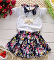 3PCS Toddlers Baby Girls Outfits Sets Pearl Necklace+T-shirt Top+Floral Skirts 2016 Summer Clothes Outfits Sets