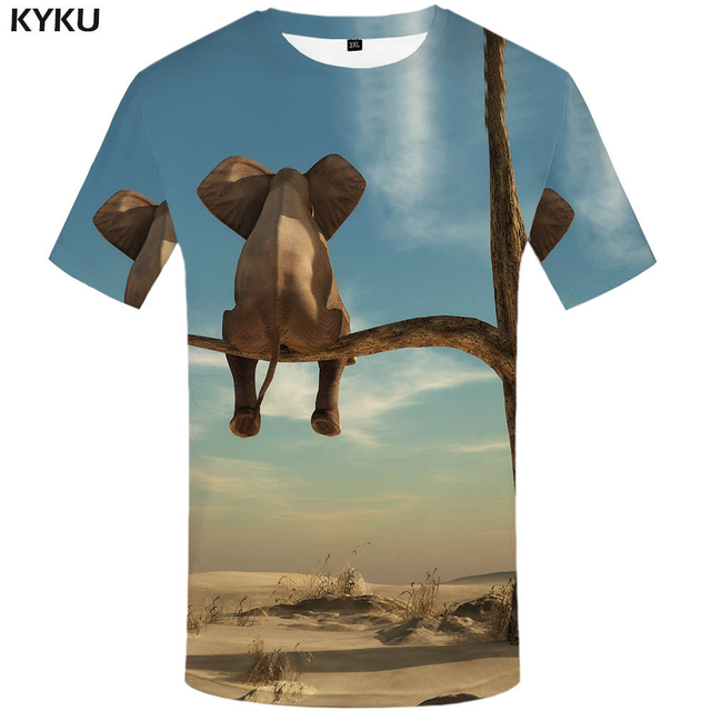97ab72730 KYKU Brand Elephant T shirt Forest Shirts Tree Clothes Clothing Tees Tops  Men Funny 3d t-shirt Male Chinese Printed Japanese