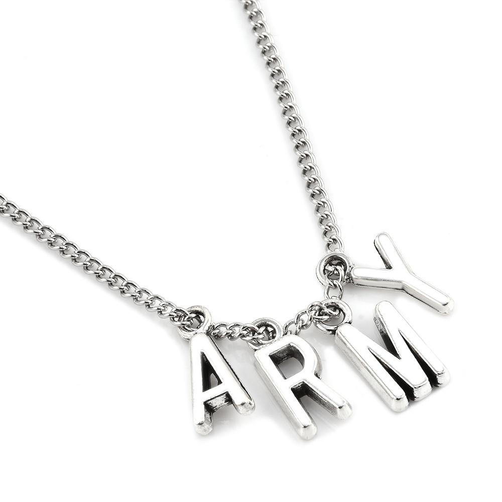 2017 New Fashion KPOP BTS Jimin Necklace Bangtan Boys ARMY A.R.M.Y Pendant KOOK JIMIN V SUGA Charms Jewelry Best Gift
