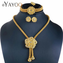 AYAYOO Nigerian Beads Necklace Jewelry Set For Weddings Women Gold Color Jewelry Set Imitation Crystal Flower Fashion Jewellery(China)