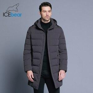 Image 2 - ICEbear 2019 חורף מעיל גברים כובע להסרה חם מעיל סיבתי מעיילי כותנה מרופדת חורף מעיל גברים בגדי MWD18821D