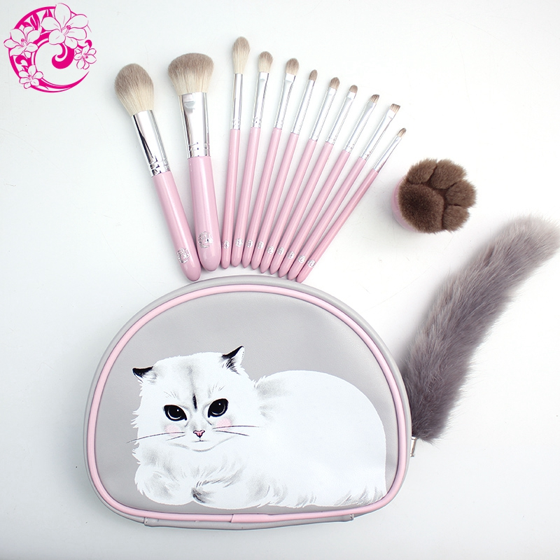 ENERGY Brand Professional 12pcs Makeup Brush Set Make Up Brushes +cat Bag Brochas Maquillaje Pinceaux Maquillage sm1 energy brand weasel small eyeshadow contour brush make up makeup brushes pinceaux maquillage brochas maquillaje pincel m108
