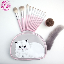 ENERGY Brand Professional 12pcs Makeup Brush Set Make Up Brushes +cat Bag Brochas Maquillaje Pinceaux Maquillage sm1