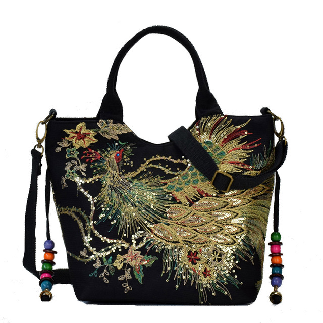 Canvas Women Handbag National Phoenix Embroidered Shoulder Totes Messenger Bag Leisure Crossbody Beach Travel Bag 1