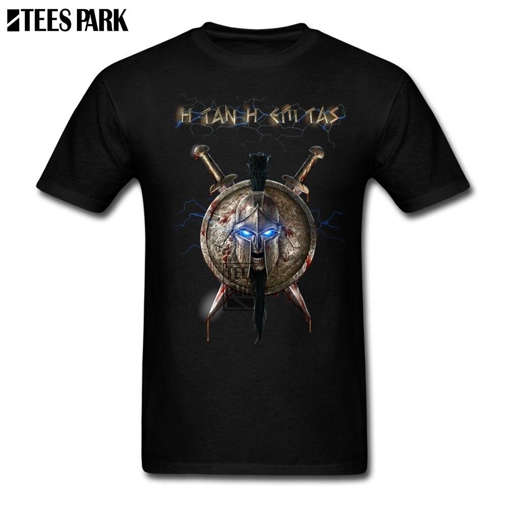 Gran tamaño camiseta espartano negro hombre Crewneck camisetas de manga corta de la venta caliente de los hombres próximos Funky T Shirts