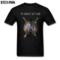 Large Size T-Shirt Spartan Black T Shirt Man Crewneck Short Sleeved T-Shirts Hot Sale Men's Upcoming Funky T Shirts